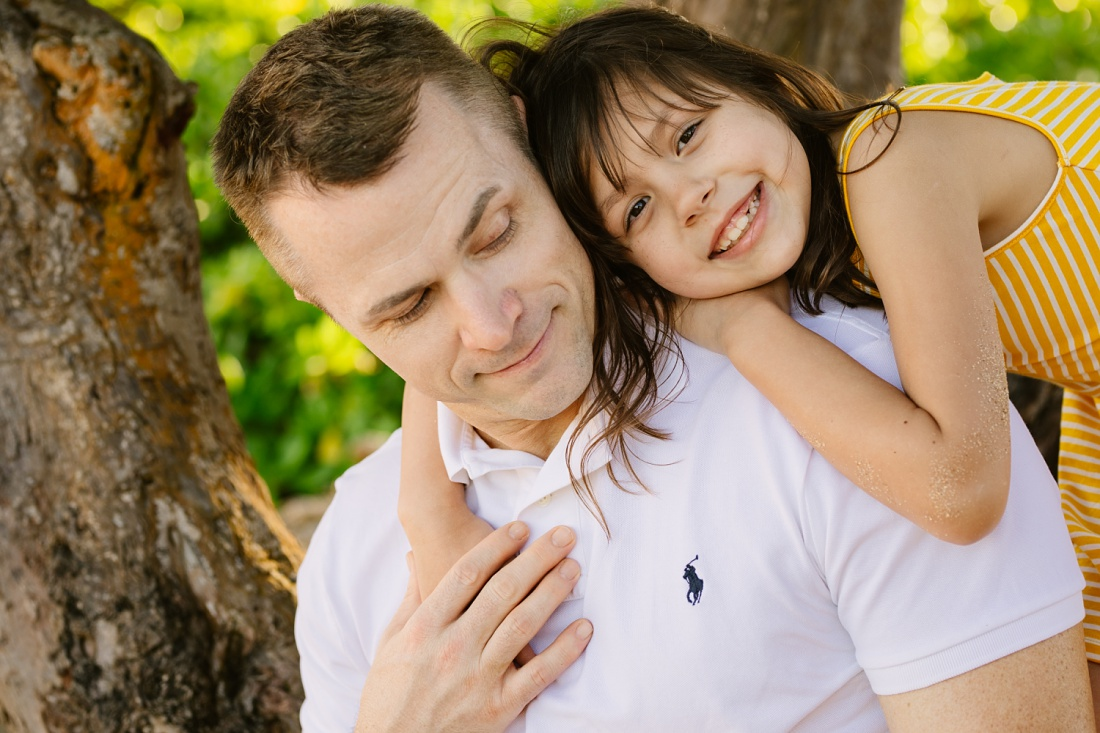 dad and daughter portrait during a fun photography session by little bird