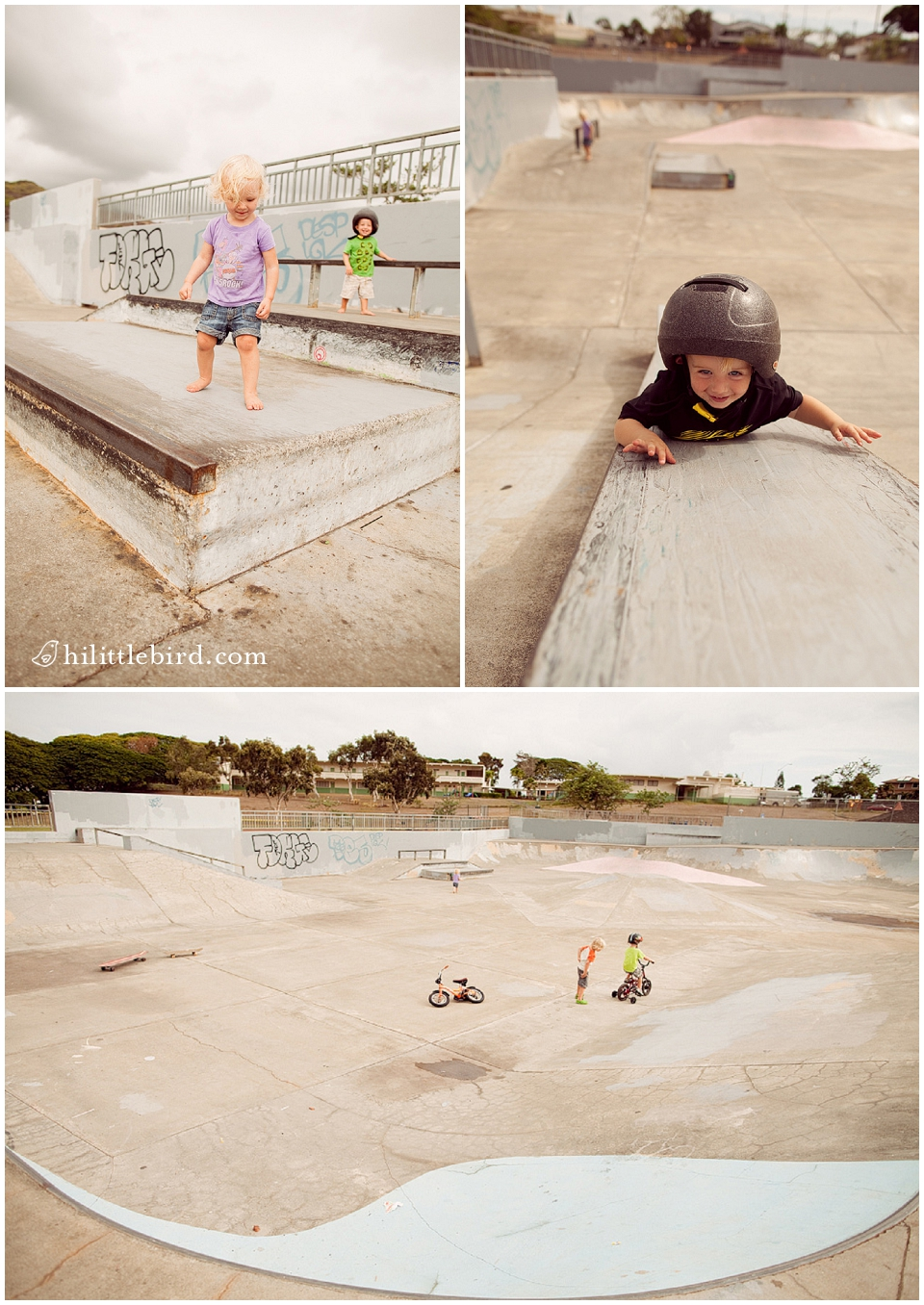 toddlers playing at an oahu skatepark in kailua