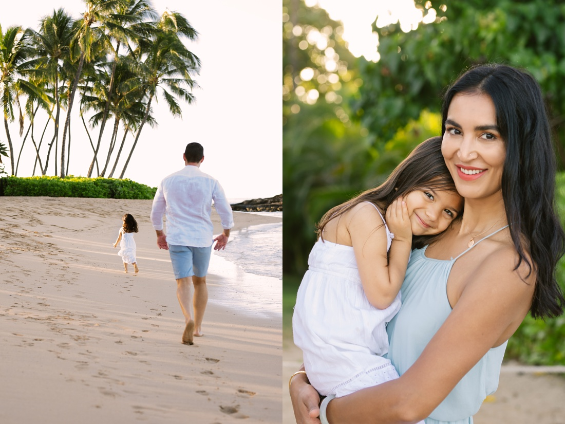 mom and daughter at the beach in hawaii