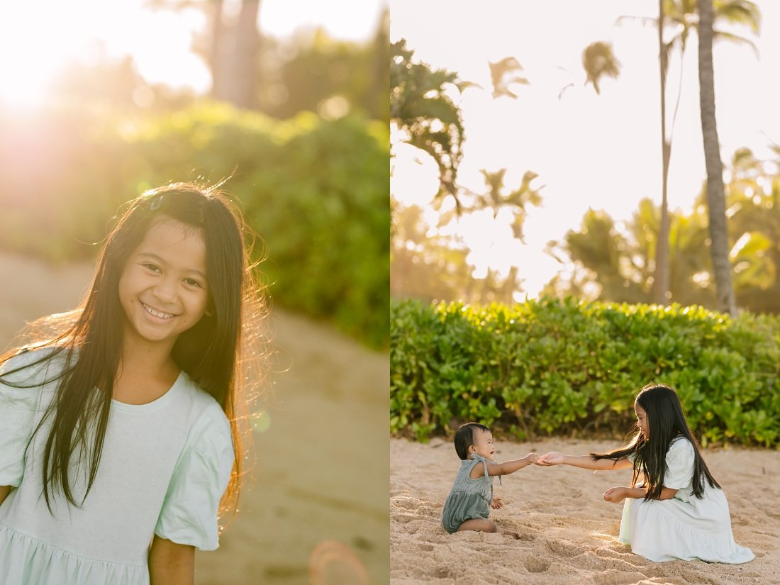 siblings playing on the beach in hawaii during a family photoshoot at koolina