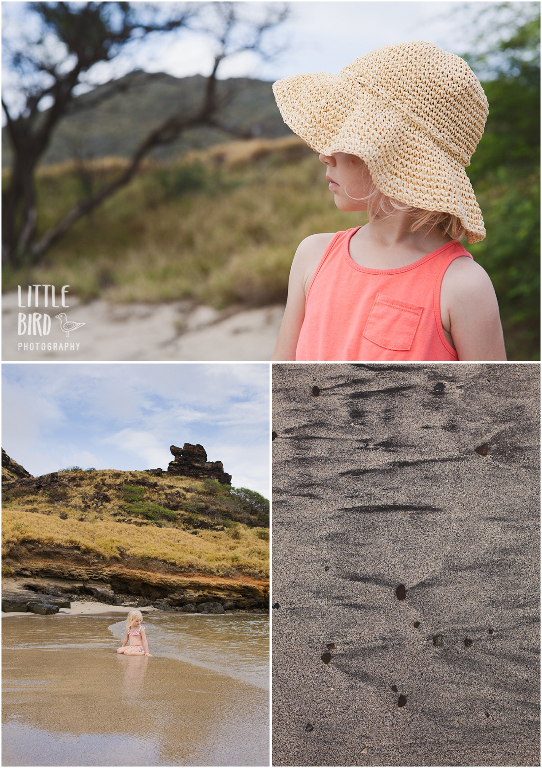 a girl in a hat at the beach in hawaii