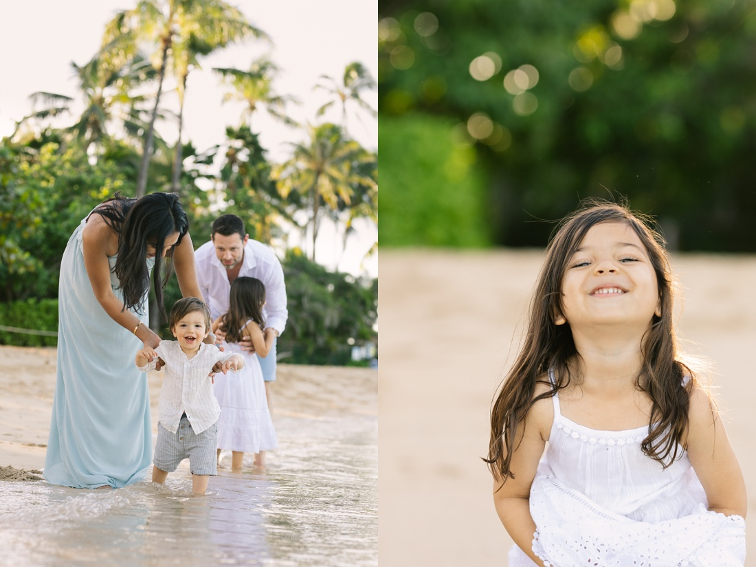 beautiful family playing at the beach during a portrait session