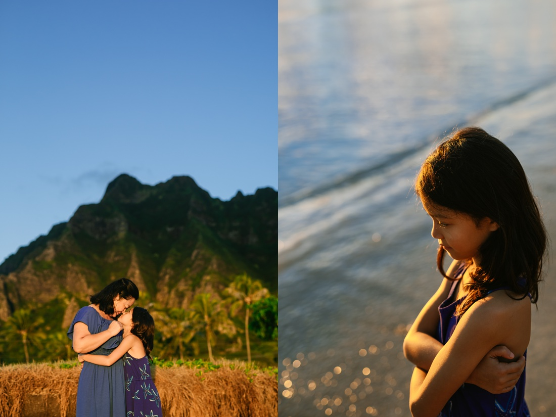 mom and daughter portrait at sunrise with mountains behind at kualoa beach in oahu