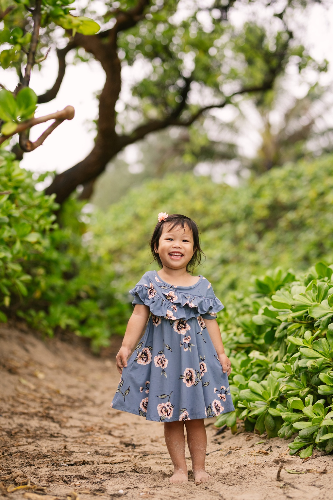portrait of a happy girl at kalama beach park by little bird photography