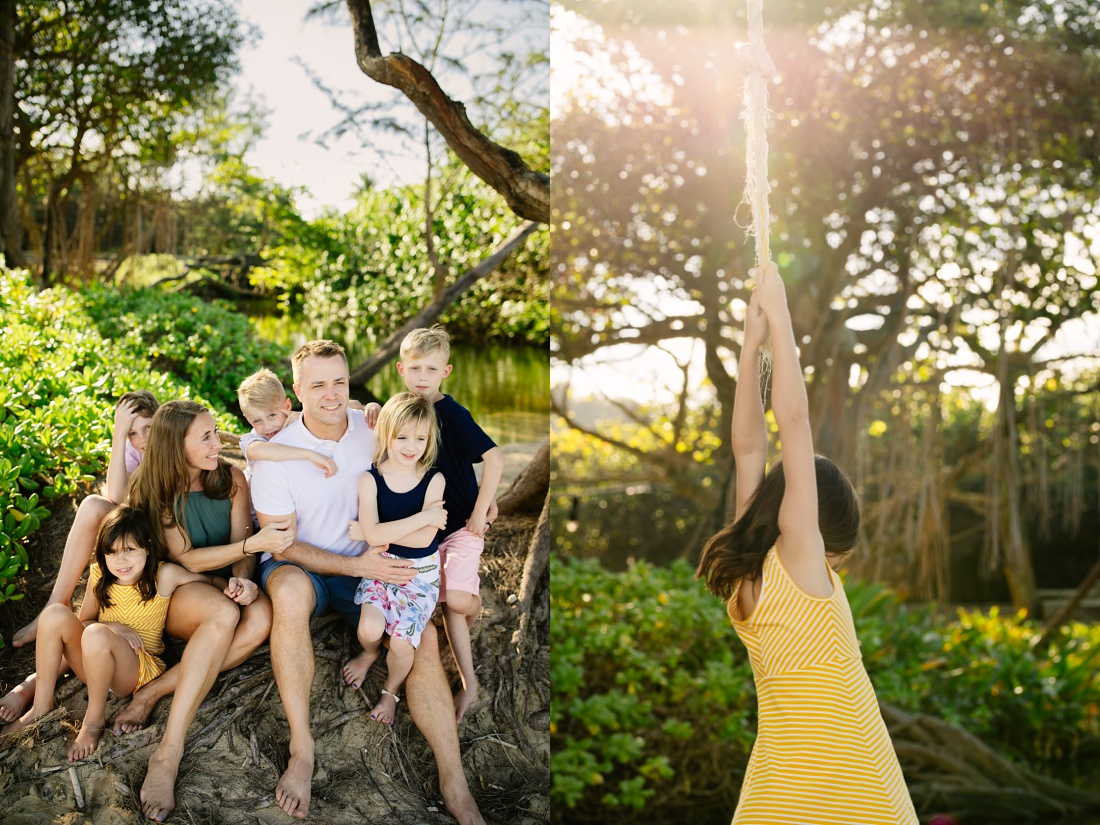 family portraits at laie beach park with evening sunshine