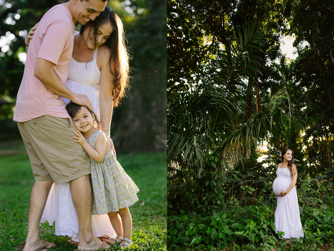 sweet family taking maternity portraits at nuuanu valley park