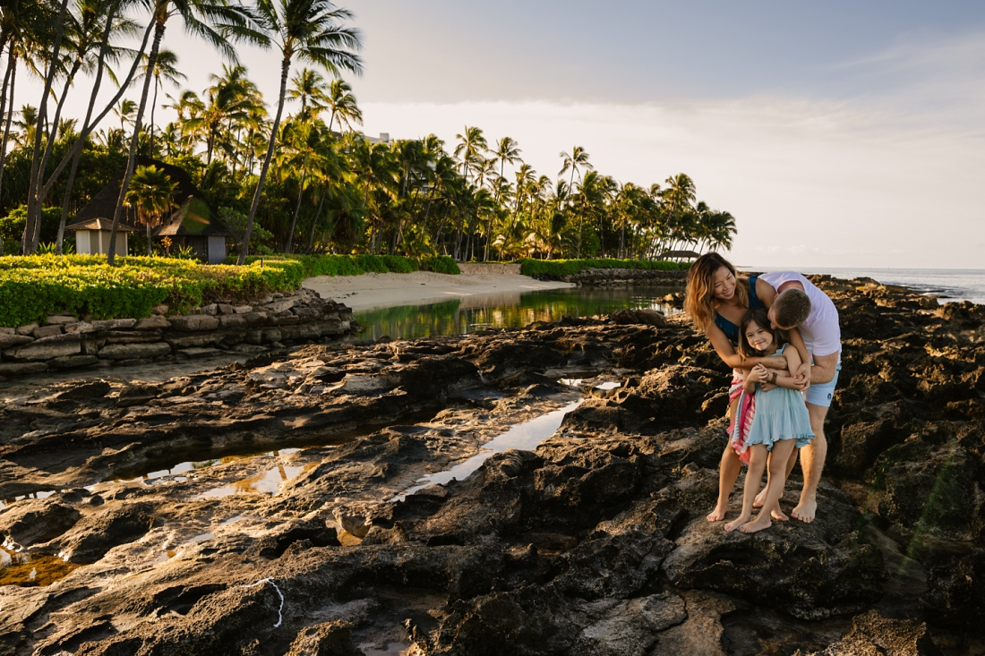 family portrait at paradise cove beach in hawaii