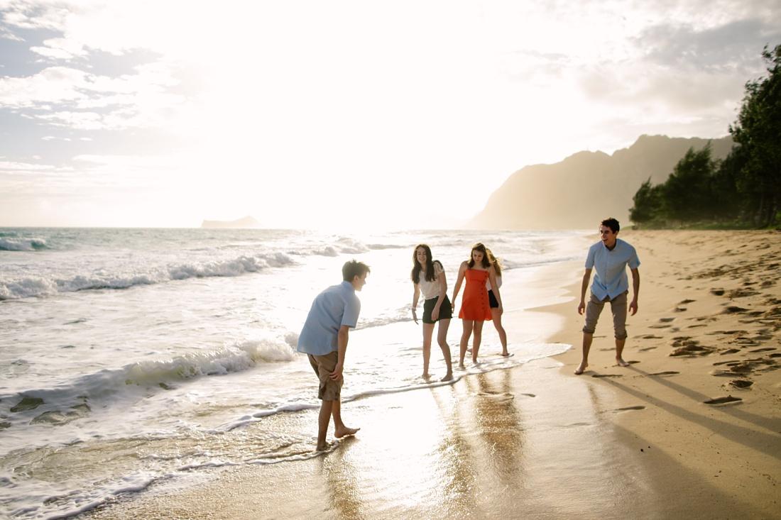 Waimanalo Family Reunion with teenagers at the beach