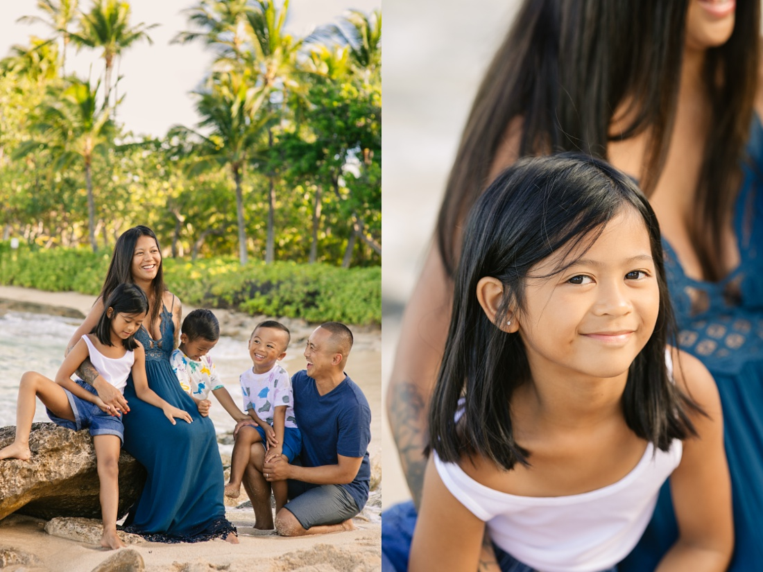 family portraits at secret beach in oahu hawaii