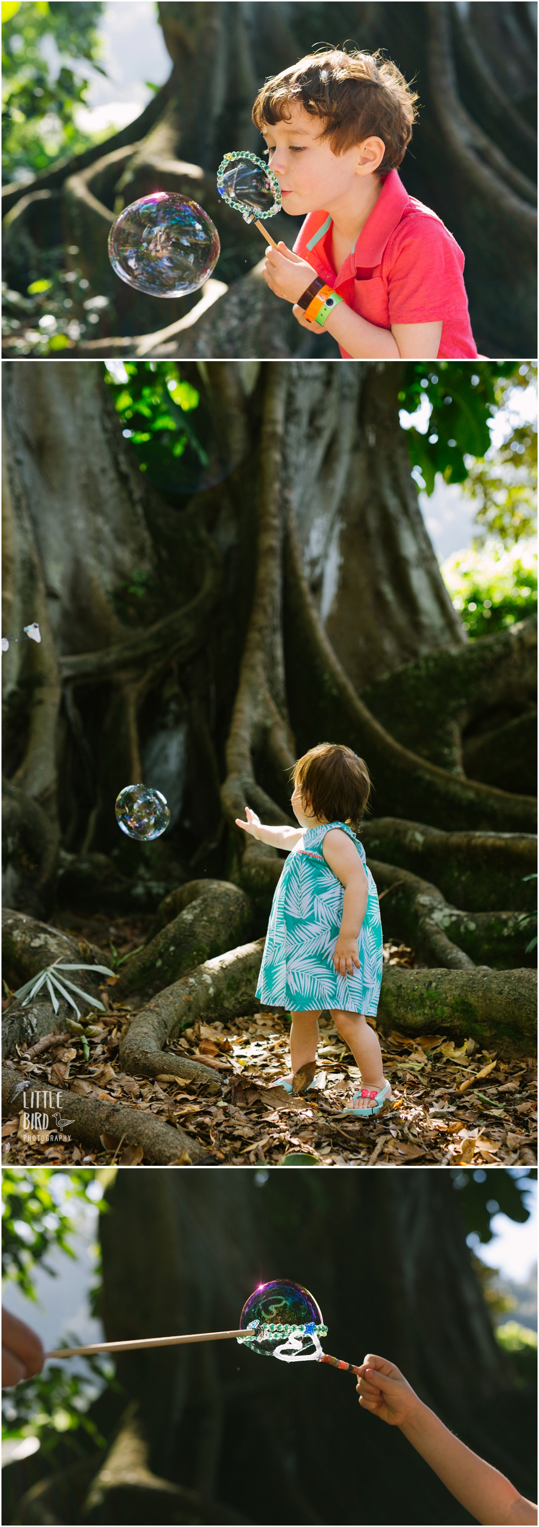 girl playing with bubbles in a tropical park in hawaii
