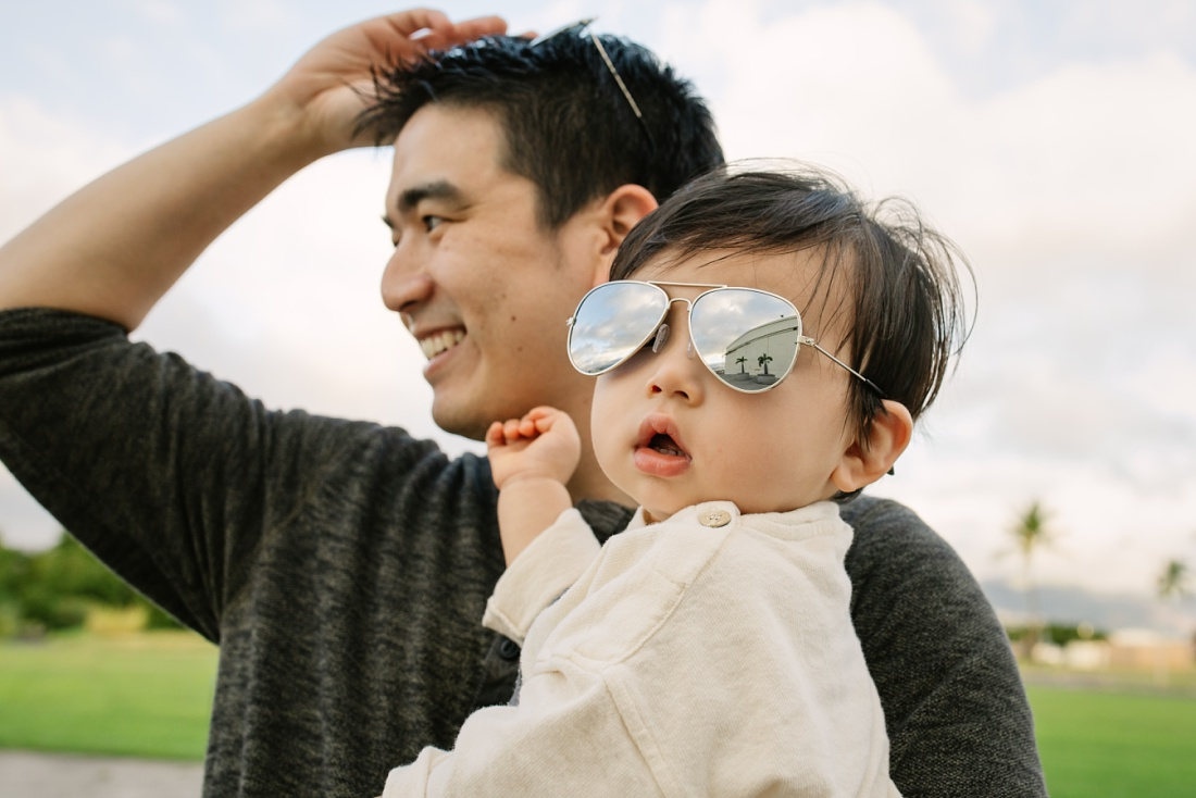 toddler wearing aviators for his first birthday party
