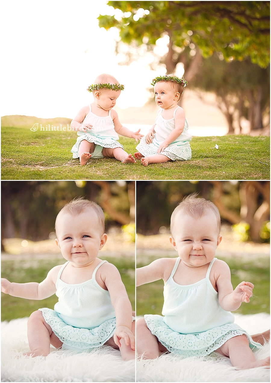Twins At Kailua Beach Park Hawaii Baby Photographer