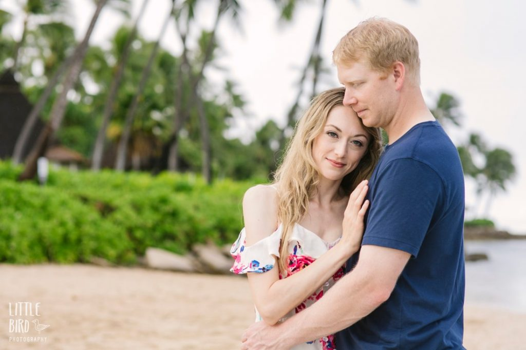 engagement photographer captures a couple at ko olina beach in oahu