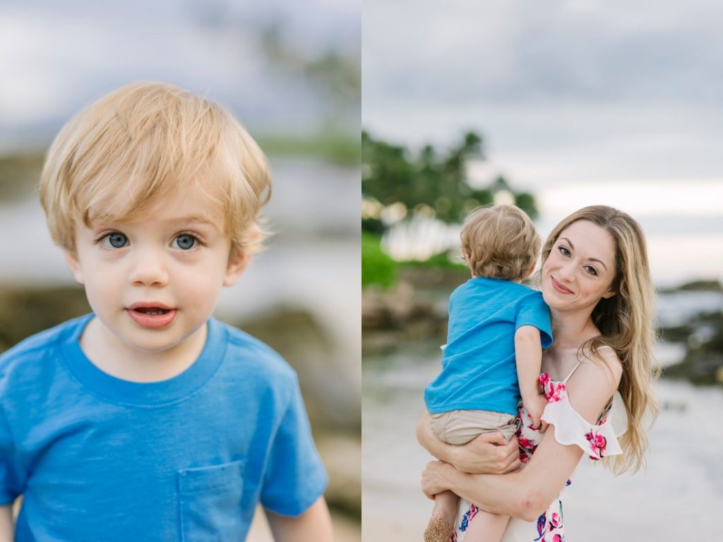 oahu photos captured mother and son at a sunrise family photo shoot in hawaii